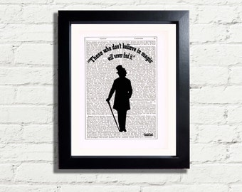 Roald Dahl Believe in Magic Inspirational Quote Silhouette Image Art Print INSTANT DIGITAL DOWNLOAD A4 Printable Pdf Jpeg Image Wall Art