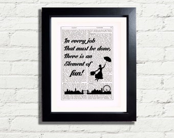 Mary Poppins In Every Job that must be done there is an element of fun Inspirational Quote INSTANT DIGITAL DOWNLOAD A4 Printable Wall Art