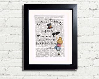 Alice In Wonderland Twinkle Twinkle Little Bat Fun Quote INSTANT DIGITAL DOWNLOAD A4 Printable Pdf Jpeg Fun Image Wall Hanging Picture