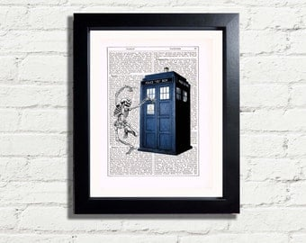 Dr Who Tardis & Dancing Skeleton Bones Art Print Picture INSTANT DIGITAL DOWNLOAD Printable A4 Pdf Jpeg  Poster Print Wall Hanging