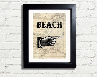 Nautical Beach Sign Vintage Old Map Art Print INSTANT DIGITAL DOWNLOAD 300 dpi Archival Antique Style Wall Hanging Gift idea