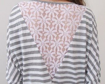 Off Shoulder Blouse, Sexy Blouse, Lace Back Top, Unique Long Sleeve Blouse, White and Grey Stripes Top, Boho Fashion, Women's Chic Top,