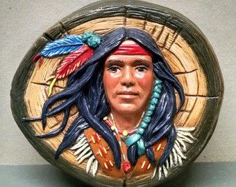 SALEIndian Brave--Native American Indian Figurine--Heirloom Quality--Hand-painted Ceramic--Home Decor--Native American Art