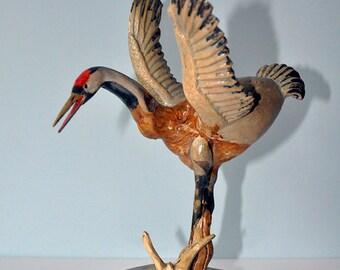 Crane bird - one of a kind wooden sculpture!