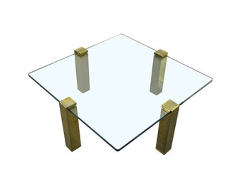Vintage Mid Century Modern Hollywood Regency Floating Glass & Brass Square Coffee Table Pace Style
