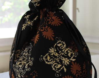 Large Knitting/Crochet Project Drawstring Bag - Baroque Butterflies and Flowers
