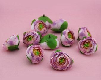 10pcs-4cm Cabbage Rose Buds in Pink Red Orange Blue Yellow- Artificial Rose Flowers Buds