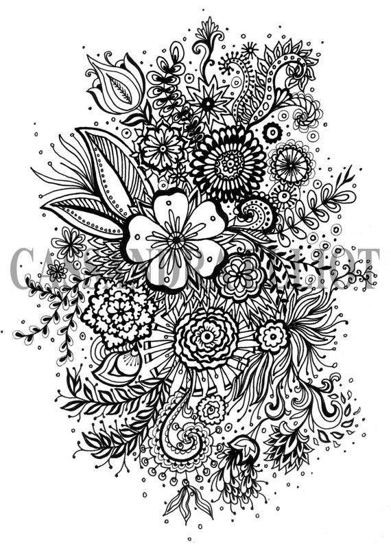 Free adult coloring pages flowers ~ Printable Adult Colouring Page Digital Download Print Flower