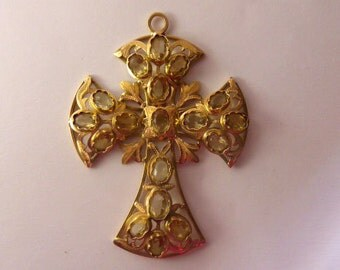 Cross in gold 18 k and citrines