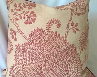 Lee Jofa 'MEDINA' Ruby Custom Decorator Designer Throw Pillow Cover Velvet Back 3 Sizes!