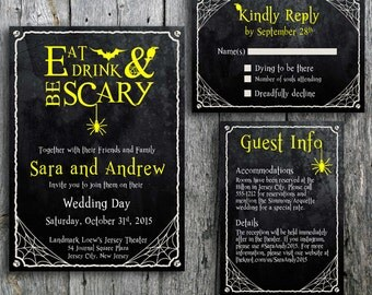 Halloween Wedding Invitation Set with Spider, Web, Bat, Crow - Eat, Drink and Be Scary Printable Wedding Invitation, RSVP and Guest Info