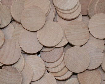 "Natural Unfinished Flat Edge Wood Circle Discs 1-1/4"""