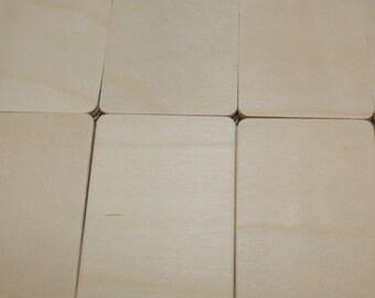 Unfinished Wood Rectangle Cutout 3 x 2 x 1/8 Bulk