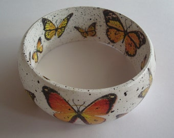 Yellow Butterfly Braselet,Wooden decoupage bracelet, wooden bracelet, decoupage bracelet, bangle, wooden bangle, decoupage bangle,