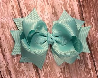 Aqua hair bow