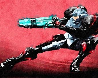 Metroid series (5) digital Watercolor Poster Print Art