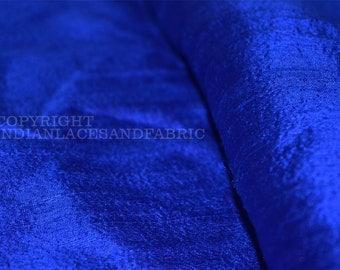 Royal Blue Pure Silk Dupioni, Raw Silk, Indian Silk Fabric, Raw Mulberry Silk - Indian Dupioni Silk by Yard