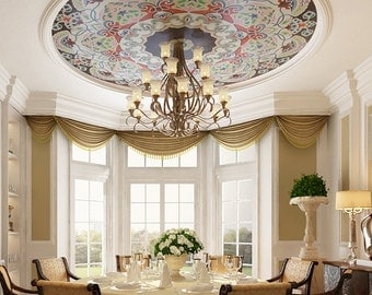 Large Wood Ceiling Mural Decorative Painting,Crystal Lamp,Bedroom,Living Room,Hotel Decal 12048