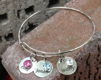 Expandable Bracelet with Engraved Charm with Birthstone