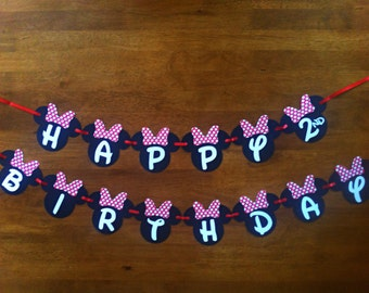 Minnie Mouse Birthday Banner - party supplies - party banners - decorations - personalized