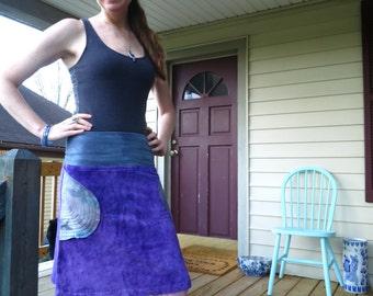 Hand Dyed Organic bamboo velour Mini Skirt festival hooping layering