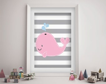 Pink Whale Nursery Wall Art Girl - Pink Nautical Baby Shower Gift - Baby Girl Nursery Decor - Printable - Instant Download