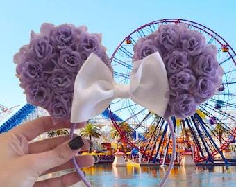 Floral minnie ears purple