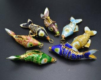 1pc Beautiful Cute Cloisonne Carp Fish Charm Pendant Bright color Fashion Necklace Jewelry Making Supplies