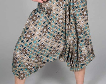 Geometric Pattern Harem Pants, Baggy Trousers, Grey White and Blue