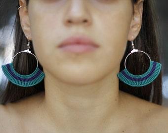 Mayan, micro macrame, fan shaped earrings!!!