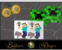 Minecraft Blanket & Rug Crochet Graph Pattern -  Easy to follow pattern - Combo Pack