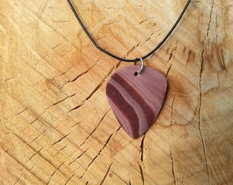 Polymer clay guitar pick necklace - Hand sculpted