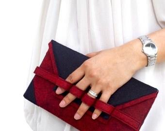 Elegant Burgundy Red Clutch Purse,  Statement Red and Black Clutch Purse, Wool Felt Clutch, Red and Black Clutch Purse, Red and Black Clutch