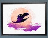 Aladdin Jasmine Magic Carpet Watercolor Fine Art Print Wall Poster Home Decor Painting Giclee Illustration No 055