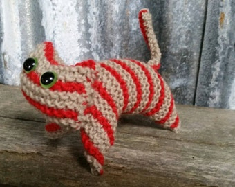 Red tabby knitted kitty cat plush toy