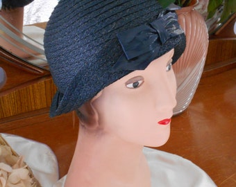Original Great Gatsby/Flapper 1920's Navy Blue Straw Cloche with Large Bow in Front