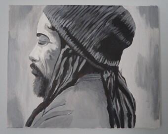 Rasta man black and white