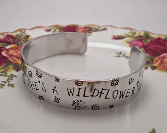 Do you suppose she's a wildflower? Cuff Bracelet.  Alice in Wonderland quote Bangle/Jewelry/Jewellery.