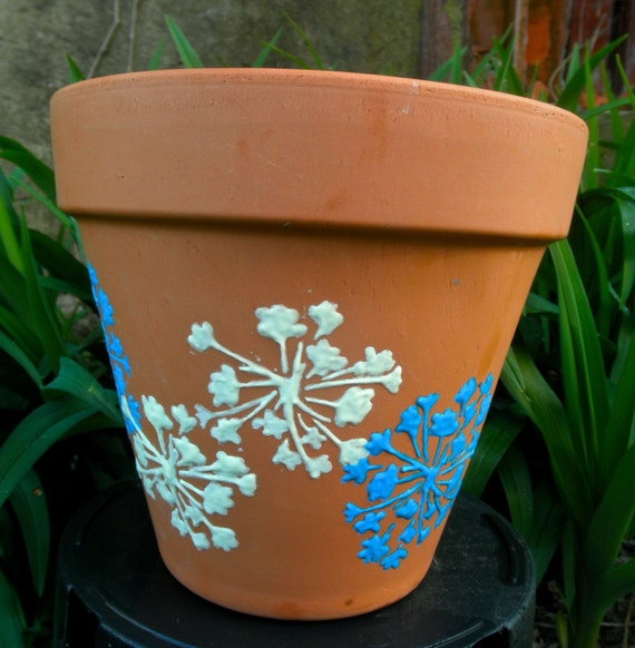 Items Similar To Terracotta Pot Glow In The Dark Flower Stencil With White An