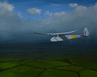 A Slingsby T21 sailplane coming down over southern England before a rain storm. My original acrylic painting of the famous RAF glider