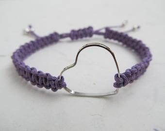 Heart bracelet, love bracelet, macrame bracelet