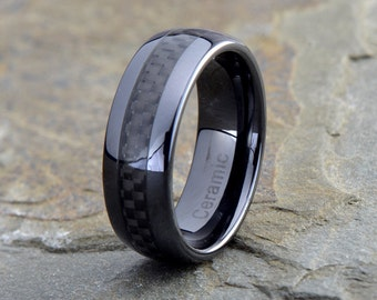 Mens Black Ceramic Wedding Band, Black Mens Ring, Black Ceramic Band, Black Carbon Fiber Inlay, Ceramic Anniversary Band