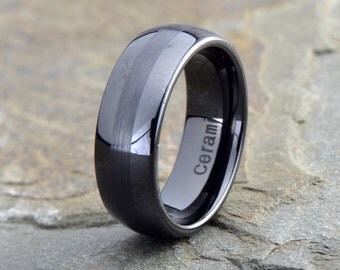 Ceramic Wedding Ring, Mens Wedding Band, Mens Ceramic Wedding Band, Black Domed Ceramic Ring, Ceramic ring, Mens Ring, Custom Engraved Ring