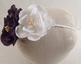 Millinery flower headband, eggplant and white color headband