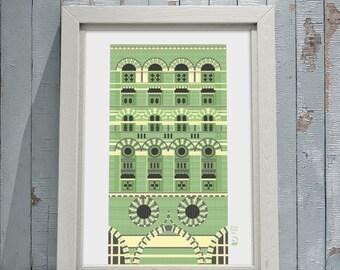 Art giclee print, The Granary, Welsh Back, Bristol UK. Green brick building, Byzantine style.
