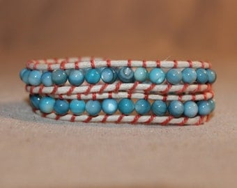 Teal and Coral Wrap Bracelet