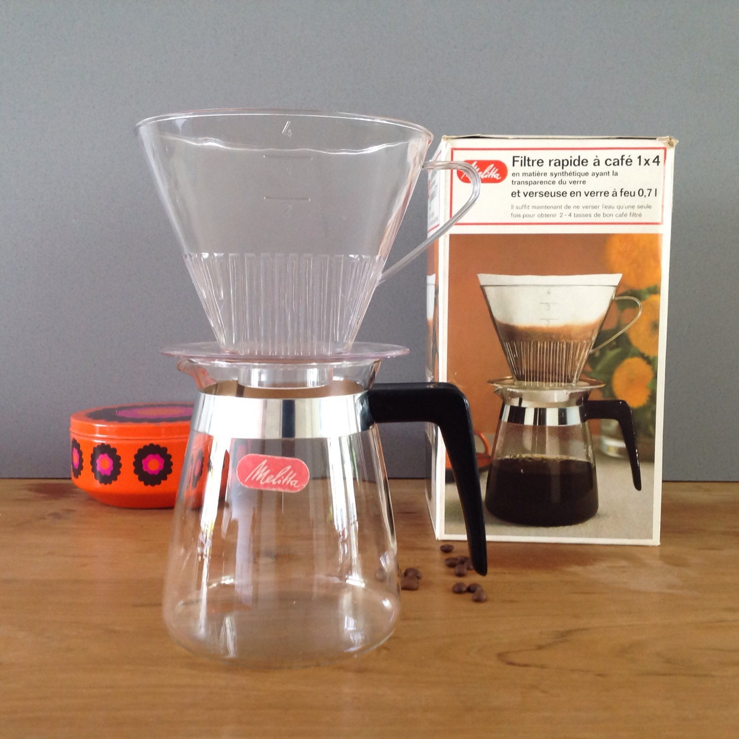 Vintage Melitta 2-4 Cup Drip Coffee Maker Pot With Clear