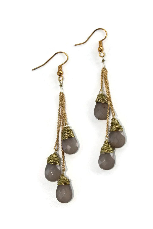 wire wrapped drop earrings beaded dangle by