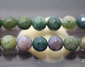 8mm India Agate Faceted Round Beads, 15'' one strand