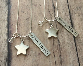 Star Friendship Necklace For 2 Hand Stamped Can Be Personalized With Friends Initials Gift For Best Friend